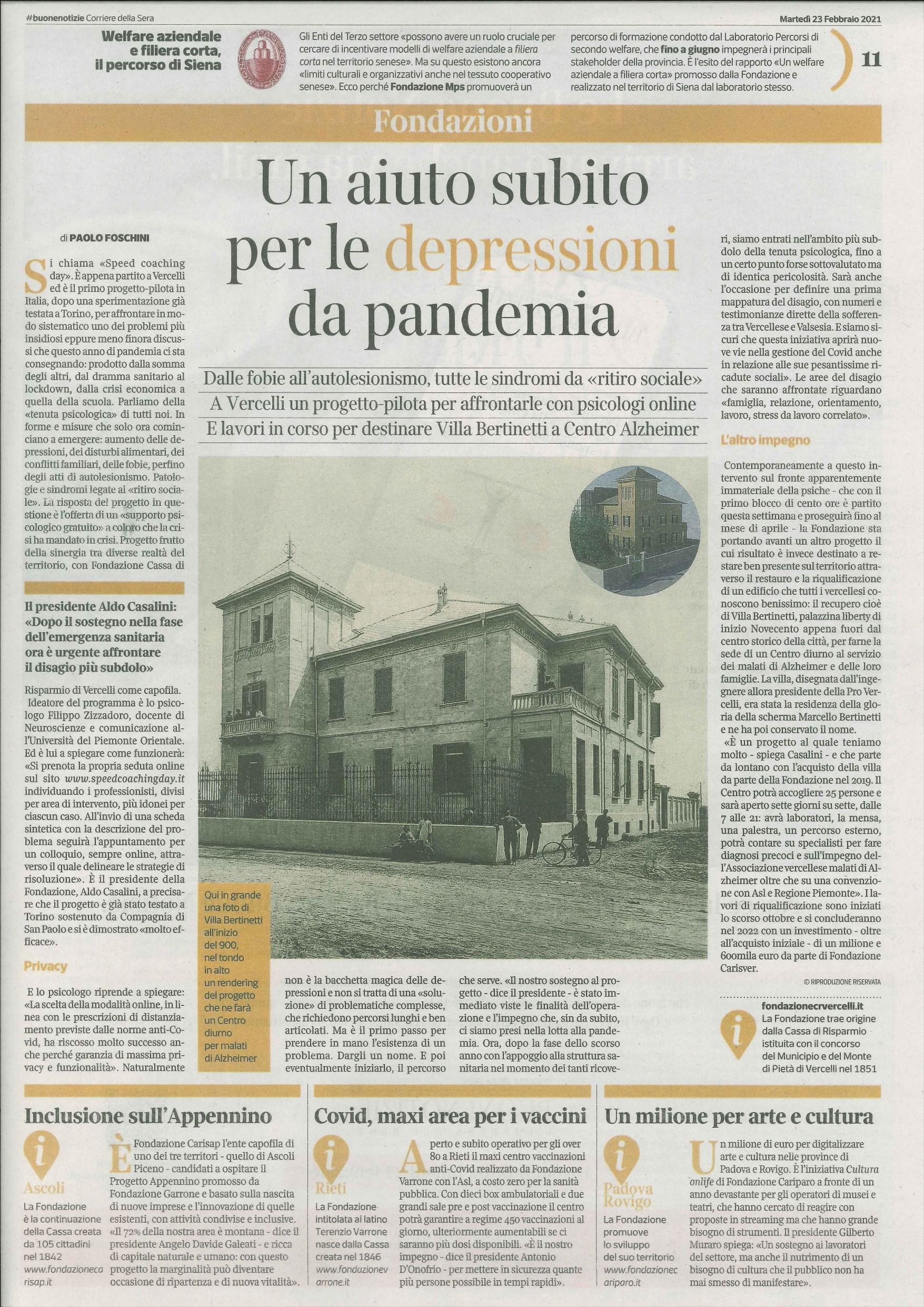 Pagina Corriere della Sera Fondazione CR Vercelli